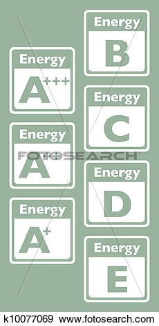 Clip Art of set of energy class tag.