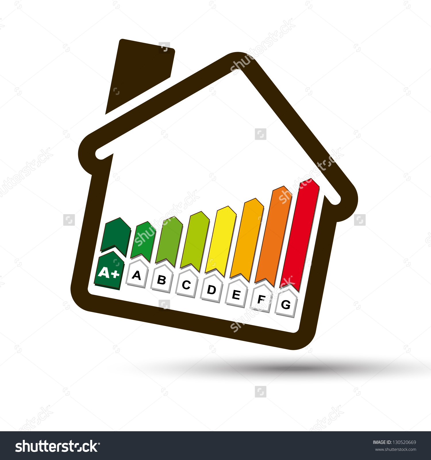 Eco House With Energetic Classes Histogram Symbol. Ecological Home.