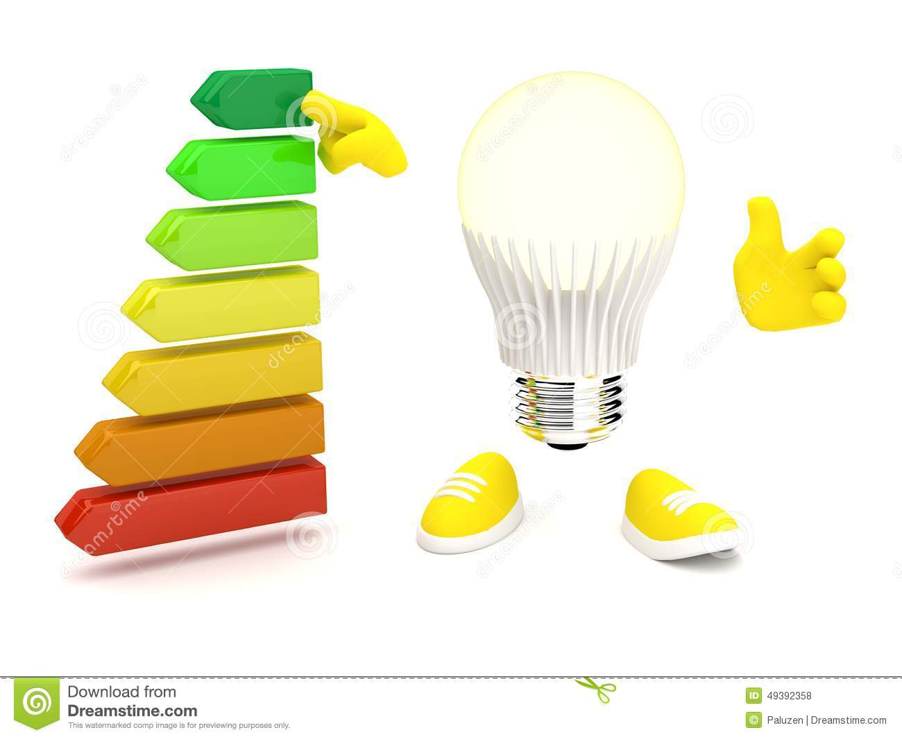 Led Lamp With Energy Class Stock Illustration.