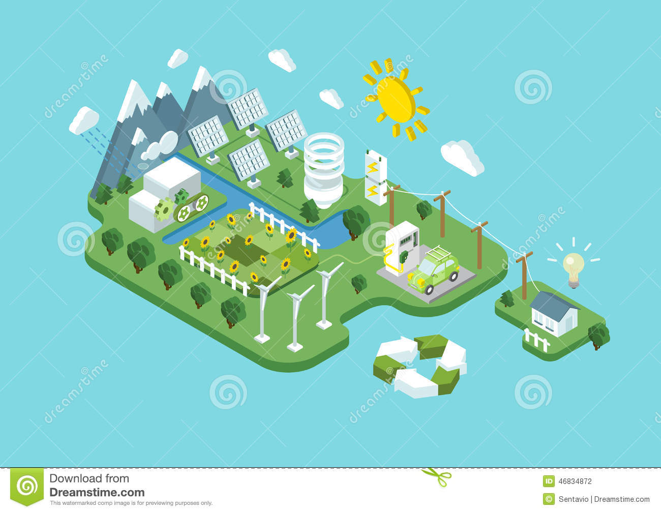 Flat 3d Isometric Ecology Green Renewable Energy Consumption Stock.