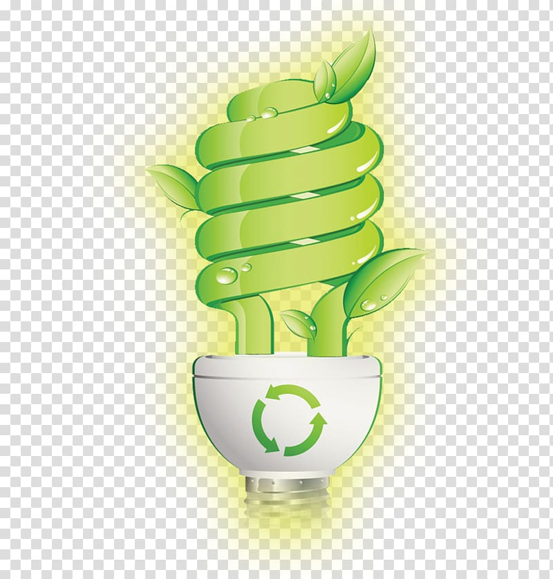Green CFL light bulb , Efficient energy use Energy.
