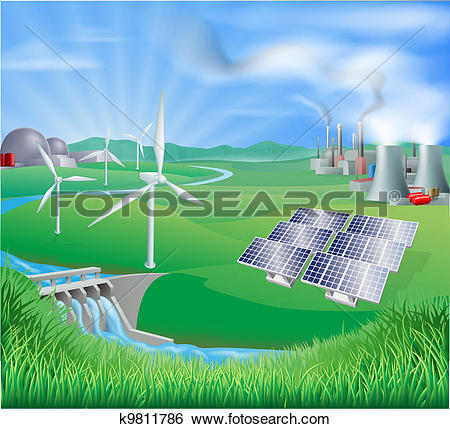 Clipart of Power plant energy generation illus k13797832.