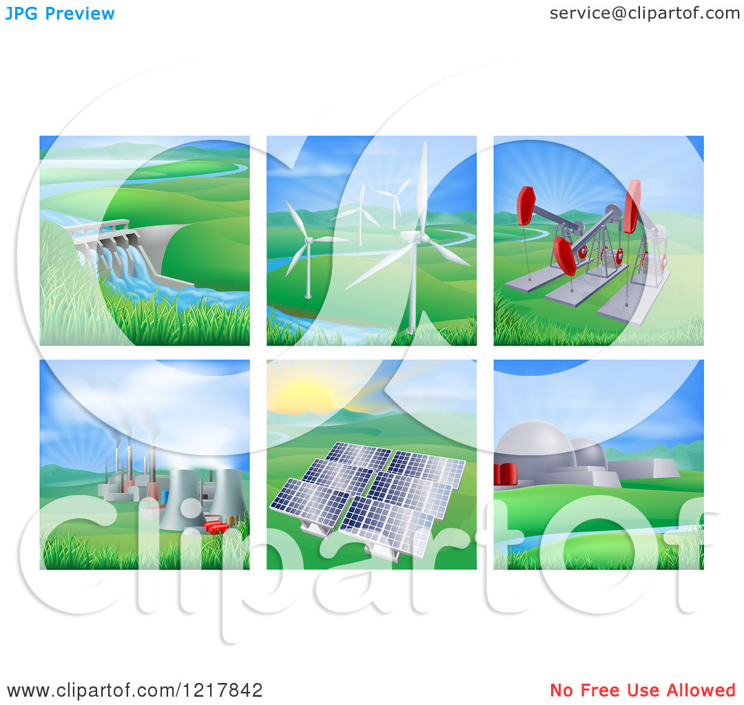 Clipart of Power and Energy Generation Plants and Landscapes.