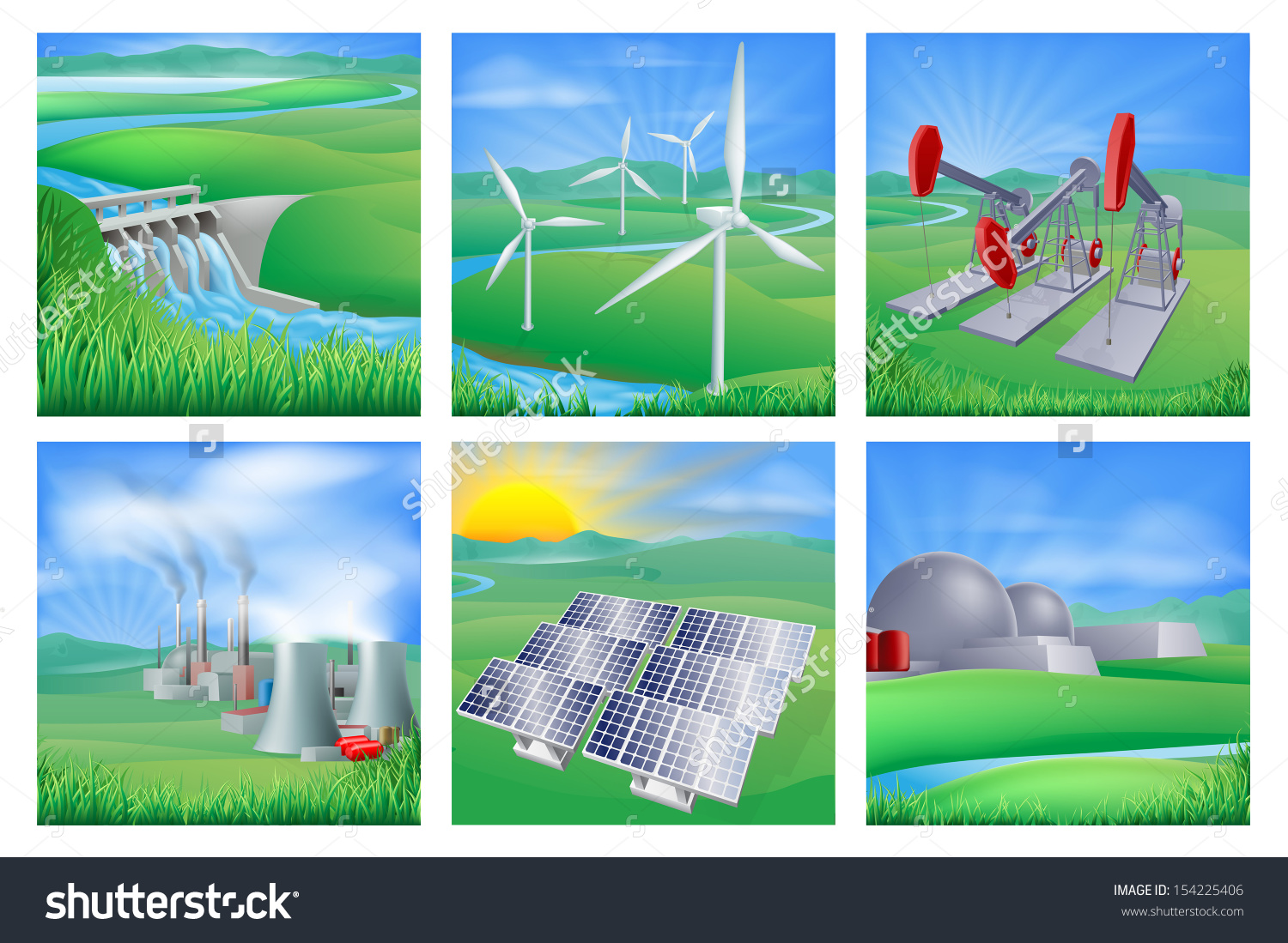 Different Types Power Energy Generation Wind Stock Illustration.
