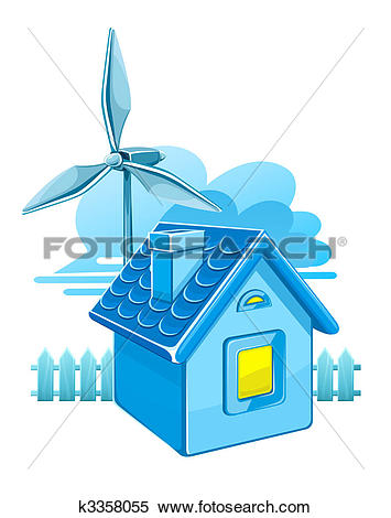 Clipart of wind turbine for electricity energy generation k3358055.