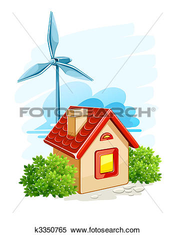 Clipart of house with wind turbine for electric energy generation.