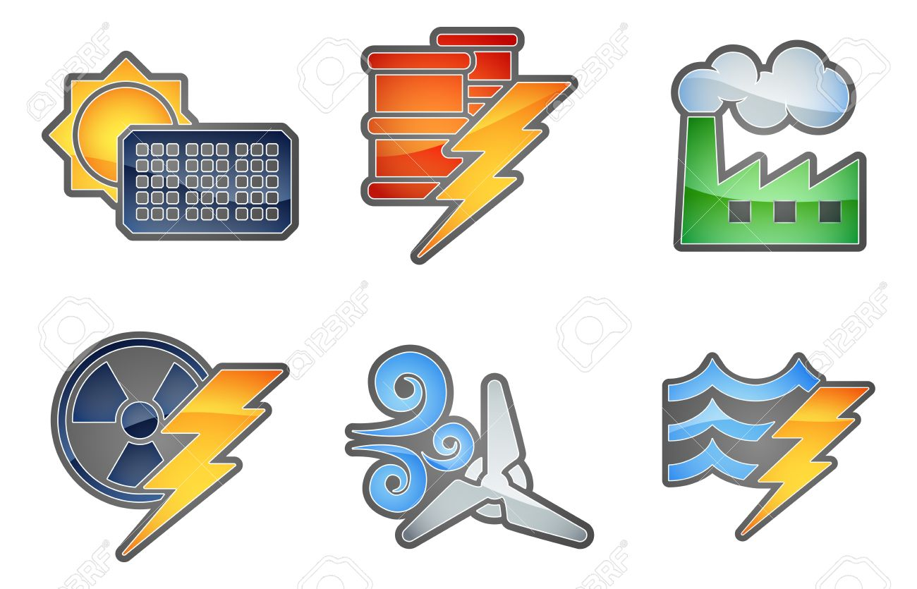 A Set Of Color Icons With Relating To Power And Energy Generation.