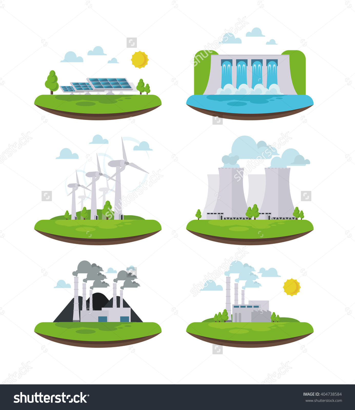 Vector Illustration Icons Types Energy Generation Stock Vector.