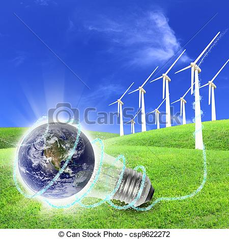 Clip Art of Wind turbines farm energy production to the world.