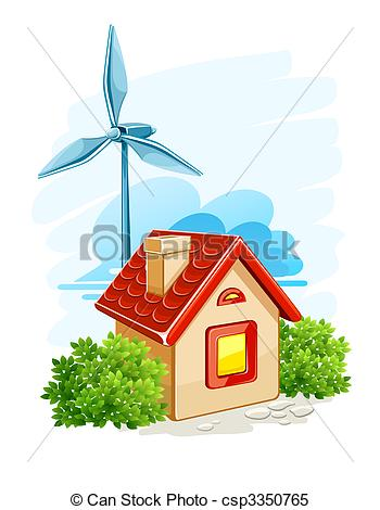 Clipart Vector of house with wind turbine for electric energy.