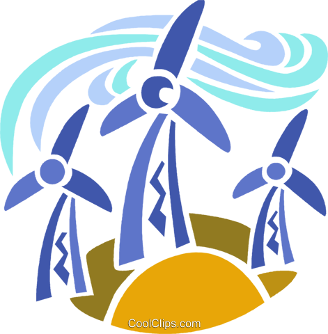 Wind energy Royalty Free Vector Clip Art illustration.