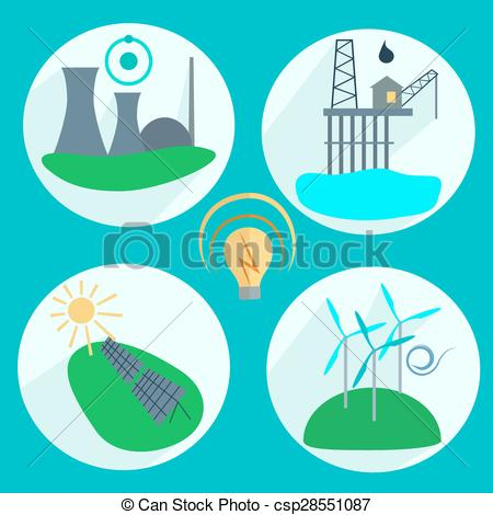Vector of Types of energy production Nuclear power plant, wind.