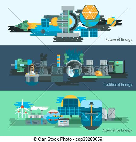 Clipart Vector of Energy production banner set.