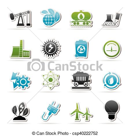 Clipart Vector of power and energy production icons.