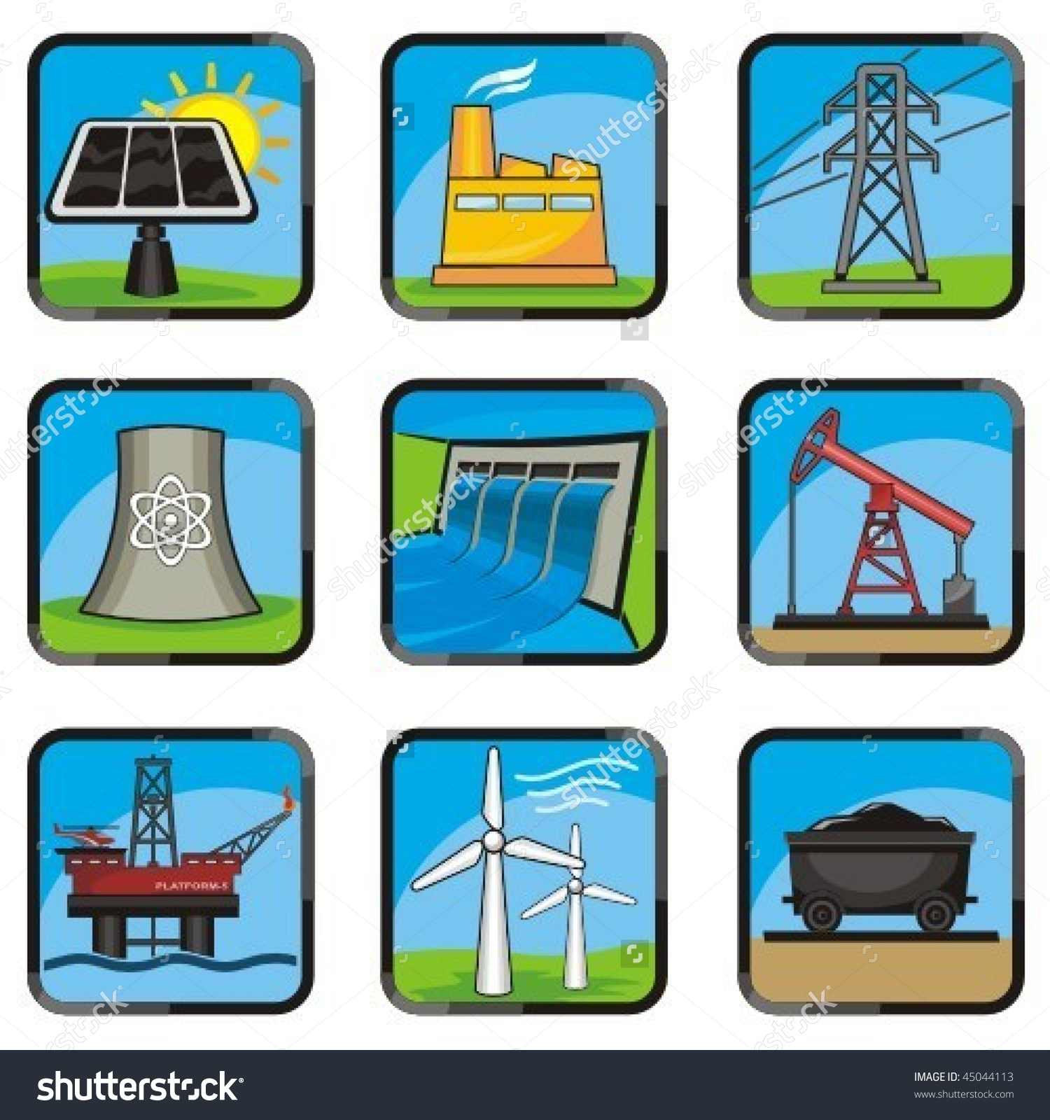 Set Energy Icons Various Ways Produce Stock Vector 45044113.