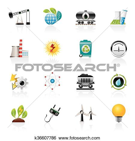 Clip Art of power and energy production icons k36607786.