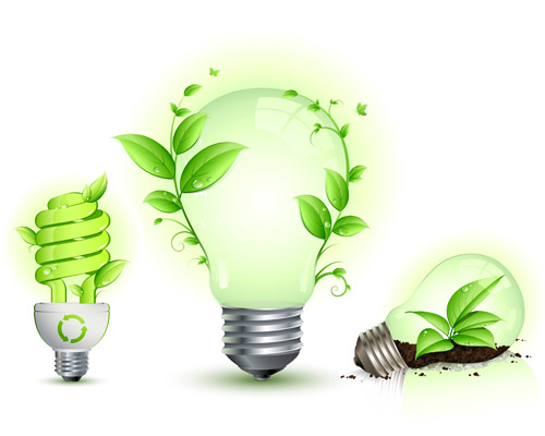 Green Leaf and Energy Saving Lamps Vector clip arts, clip art.
