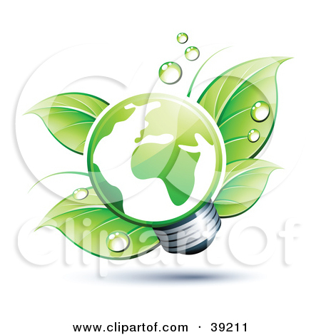 Clipart Illustration of a Green Energy Efficient Lightbulb With.