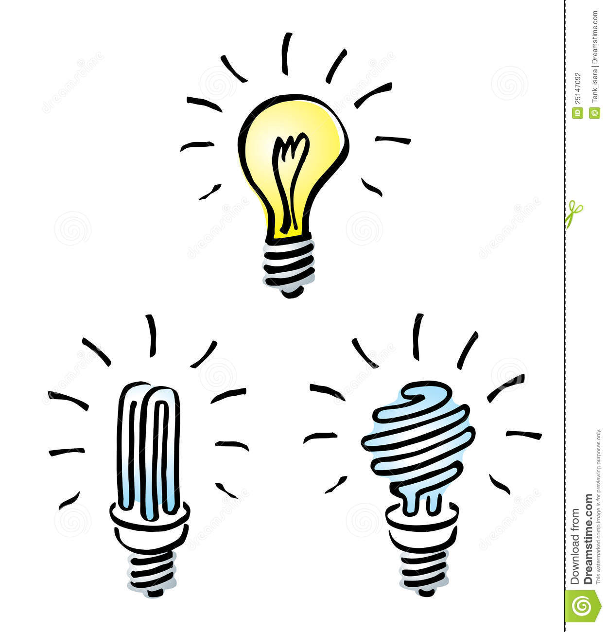 Energy saving light bulbs clipart.