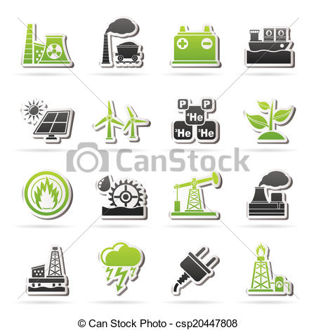 Vector Clipart of Electricity and Energy source icons.