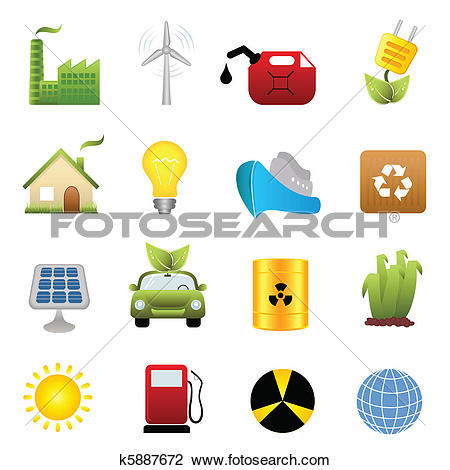 Clip Art of Ecology and environment icons k8474818.