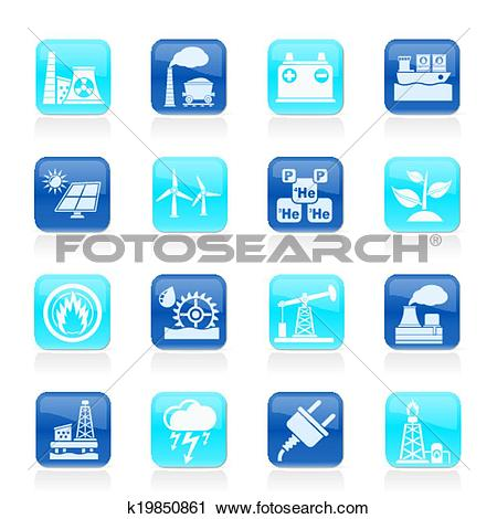 Clipart of Electricity and Energy source icons k19850861.