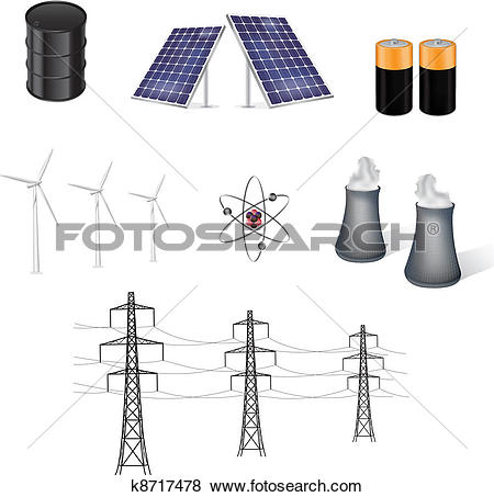 Clip Art of various sources of energy vector k8717478.