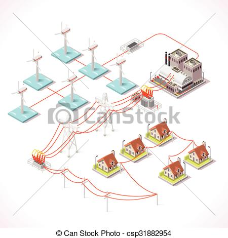 Clipart Vector of Energy 16 Infographic Isometric.