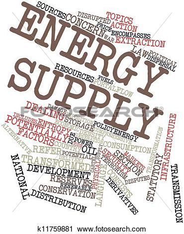 Clipart of Word cloud for Energy supply k11759881.