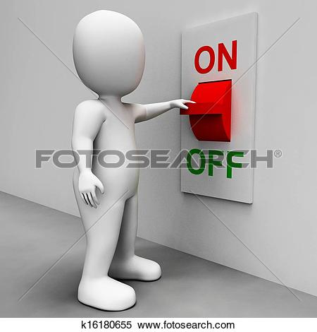 Stock Illustration of On Off Switch Shows Energy Supply k16180655.