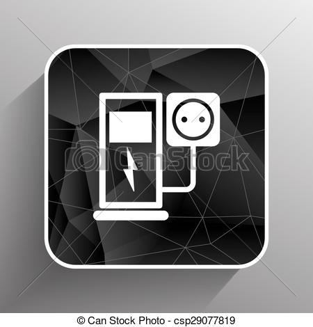 Vector Clip Art of Electric energy supply for cars. Vector icons.