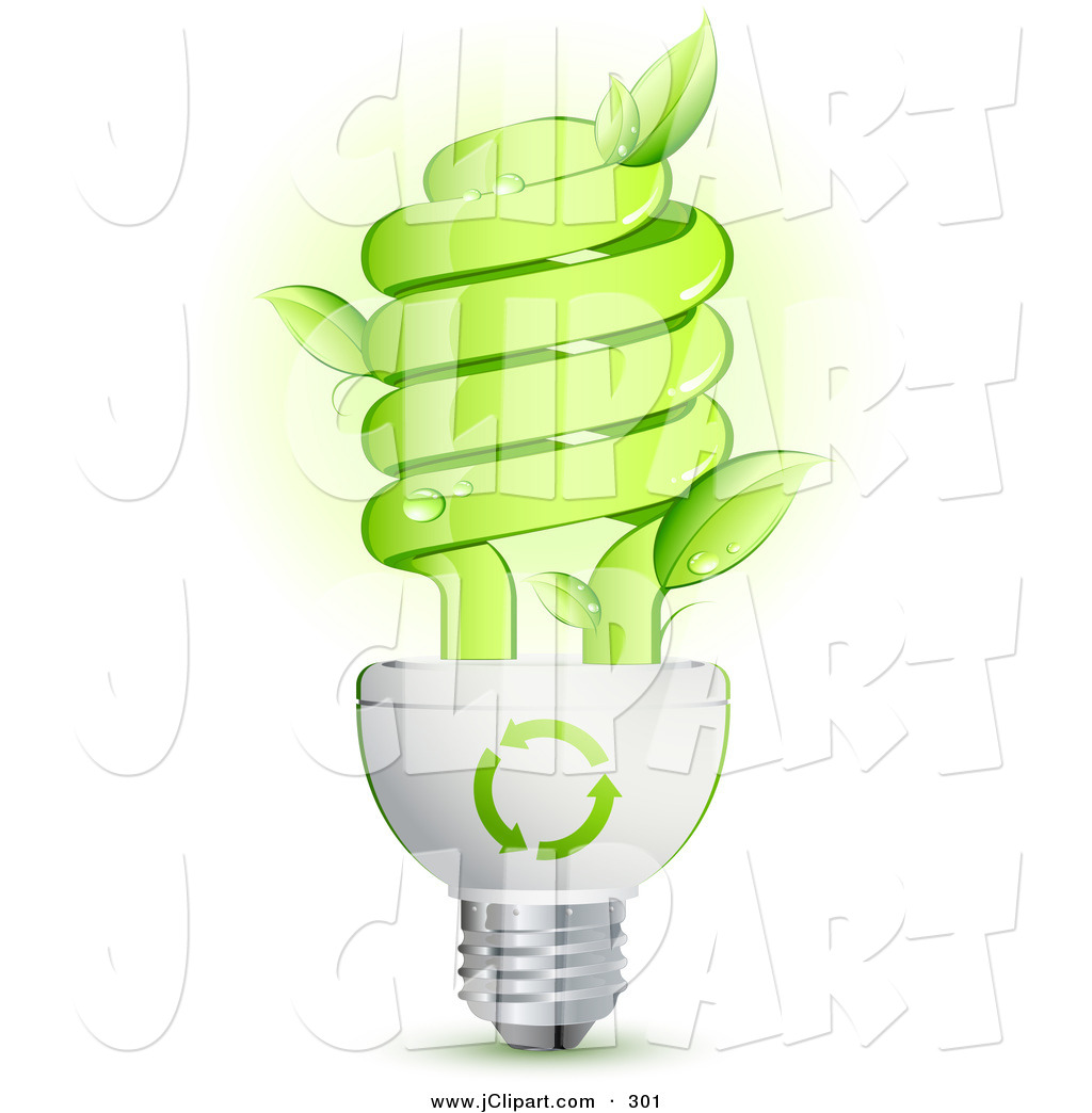 Vector Clip Art of a Green Energy Efficient Lightbulb with Leaves.