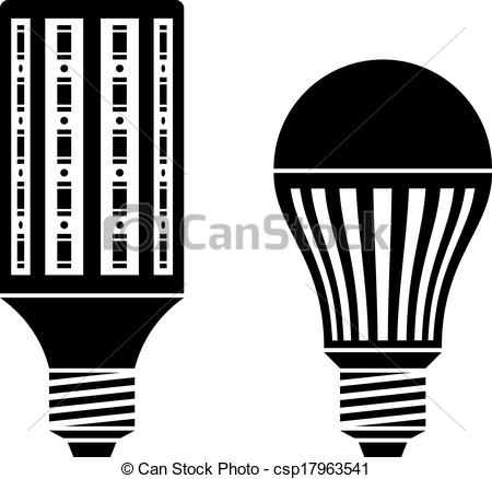 EPS Vector of vector LED energy saving lamp bulb symbols.