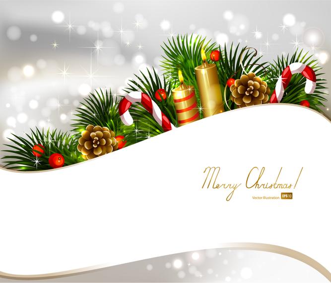 Design de Natal com enfeites e fita branca.
