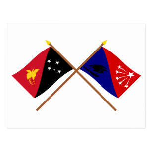 Crossed flags of PNG and Central Province Postcard.