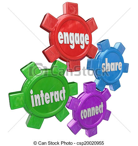 Stock Images of Engage Interact Share Connect Words Gears.