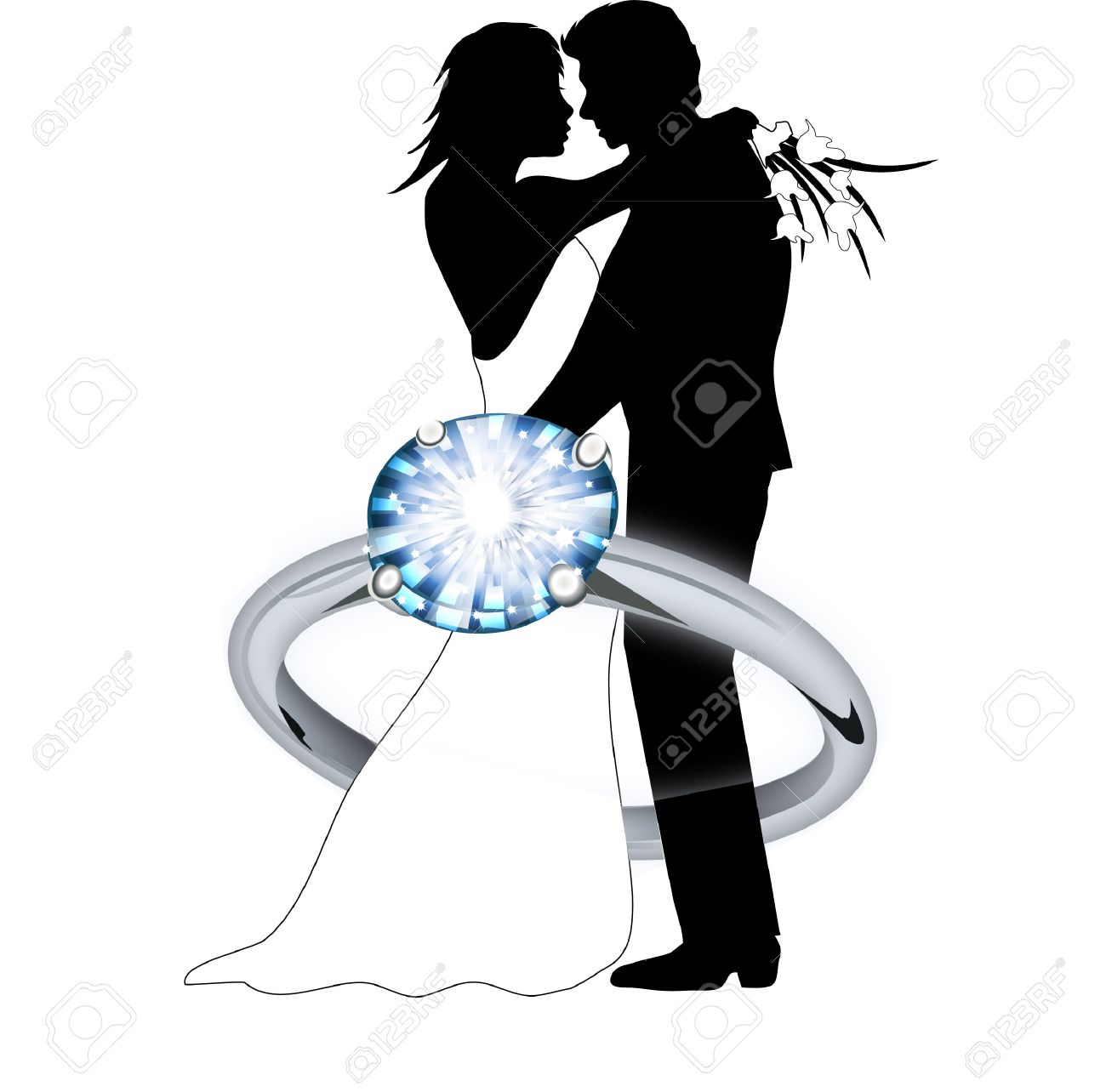 Engagement Couple Clipart.