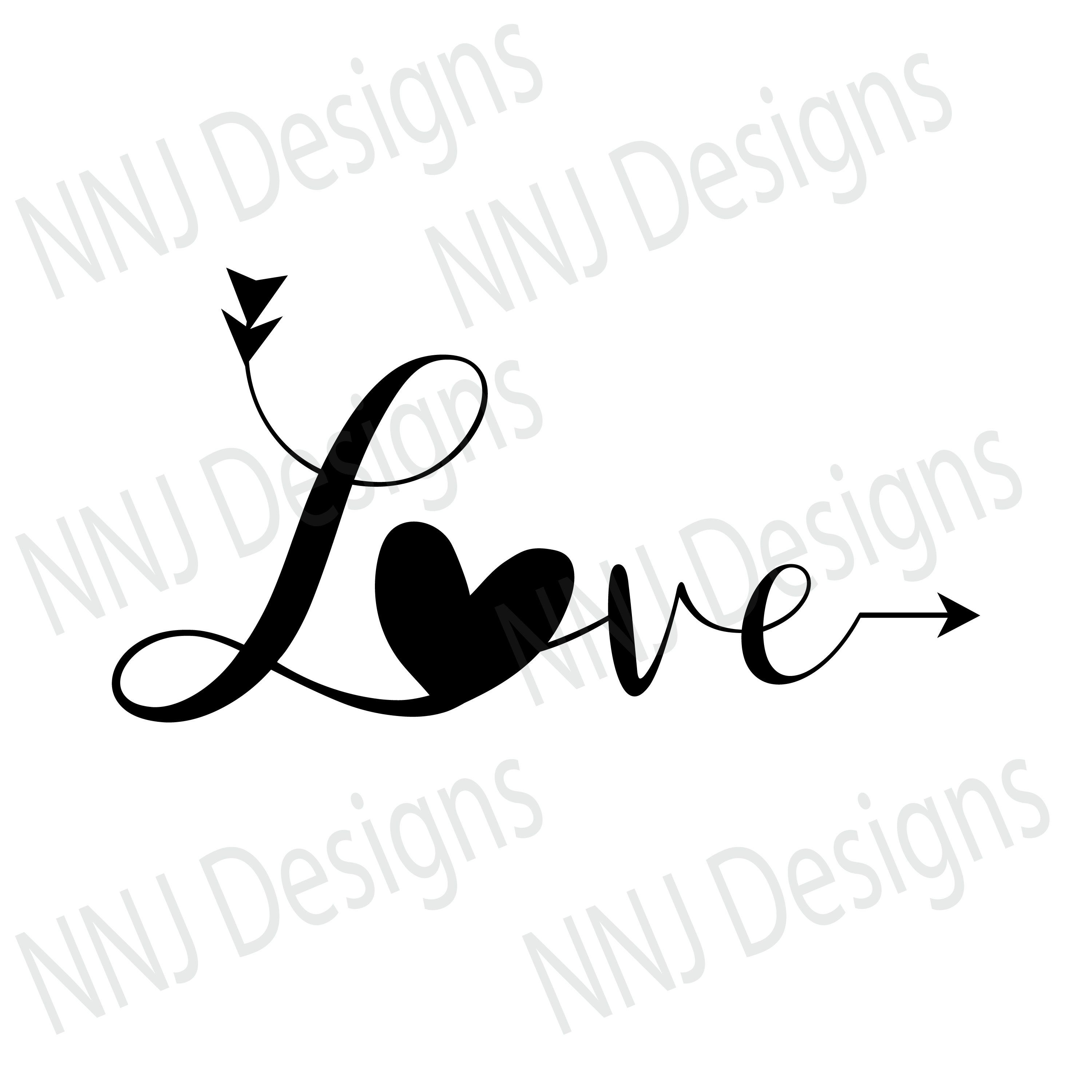 Love SVG File Heart Valentines Day Wedding Engagement Couple.