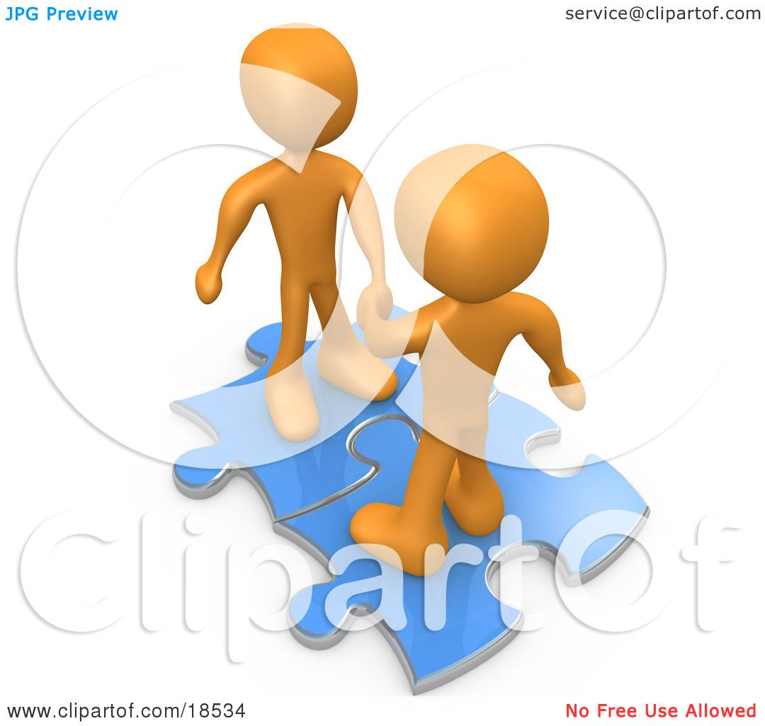 Clipart Illustration of Two Orange People On Blue Puzzle Pieces.