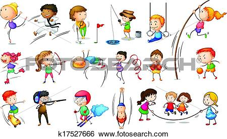Clip Art of Kids engaging in different sports k17527666.