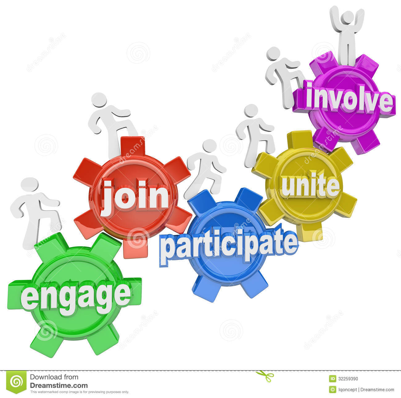 Participate People Climbing Gears Join Engage Involve Stock Photo.