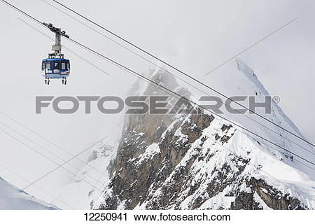 Stock Photography of Scenic view of the Titlis Rotair revolving.
