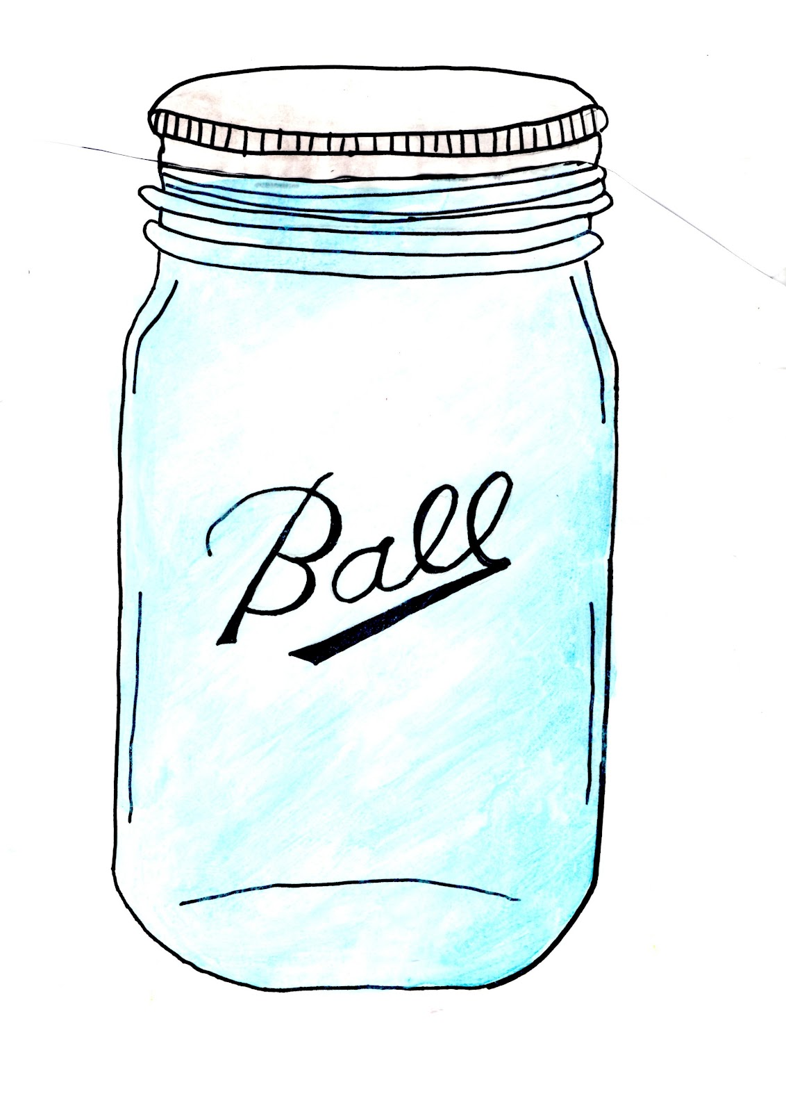 Free mason jar tempplates an ink drawing of a mason jar clipart.