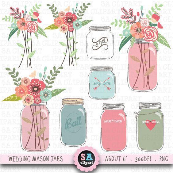 "Mason jar Clipart ""WEDDING MASON JAR""clip art pack, Vintage."