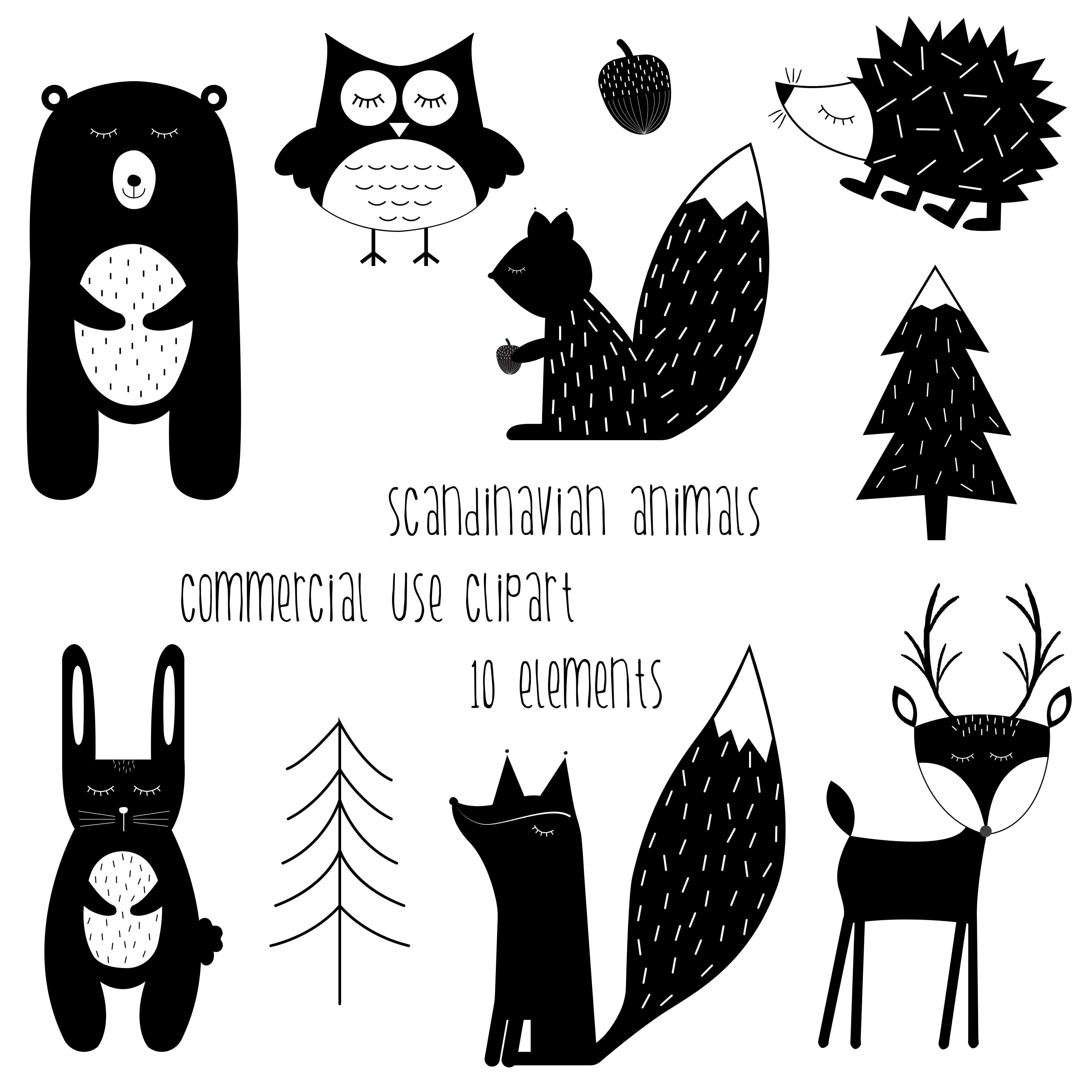 Scandinavian Animals Clipart.