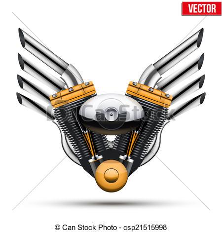 EPS Vectors of Motorcycle engine with metal wings. Vector.