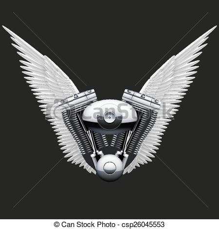 Clipart Vector of Symbol of motorcycle engine with White open.