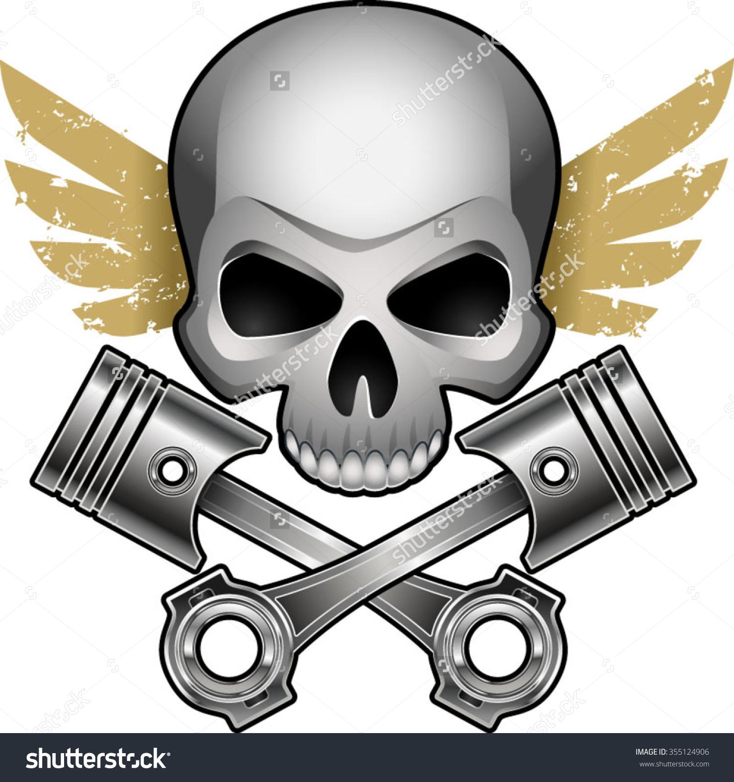 Motor Skull Crossed Engine Pistons Wings Stock Vector 355124906.