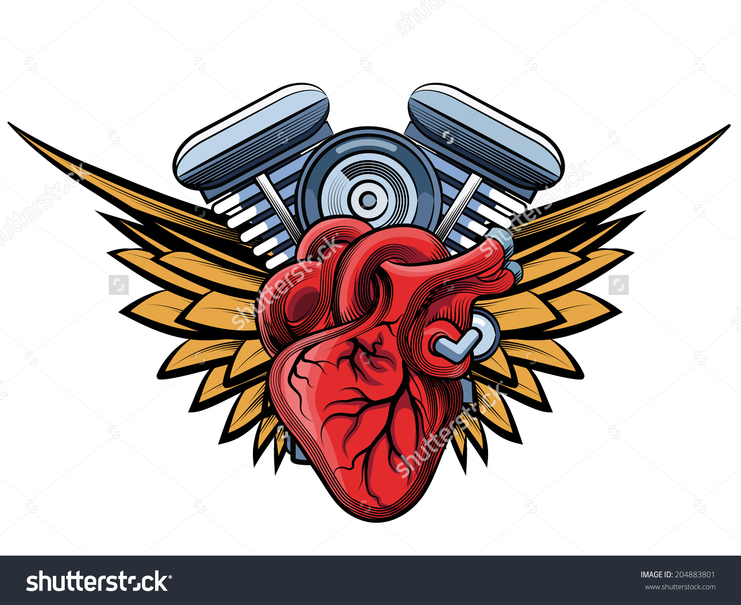 Vector Motorcycle Engine Wings Tatoo Label Stock Vector 204883801.