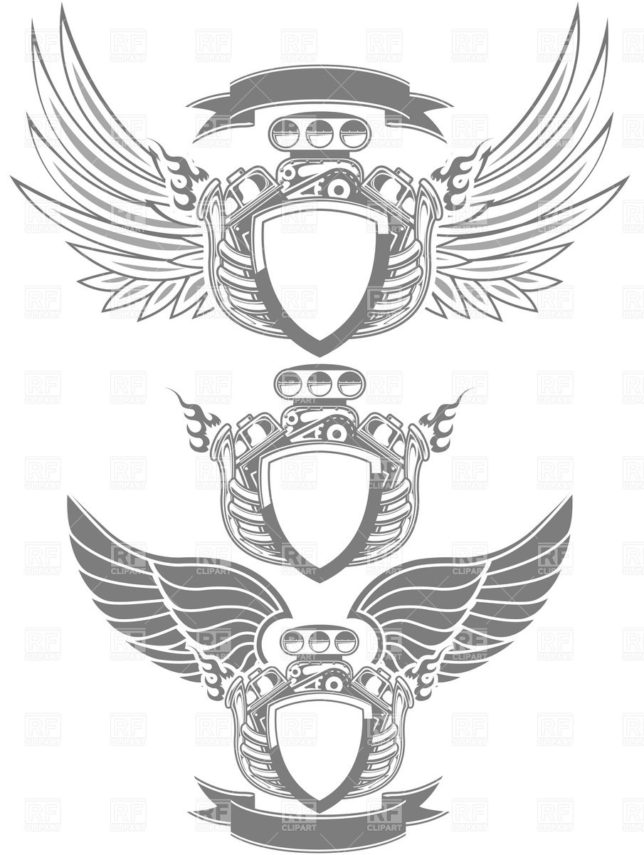 Racing emblem with engine, wings and ribbon Vector Image #4738.